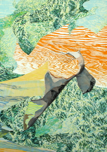 CAROLYN SWIFT Midlife mixed media collage: woodcut, relief, collagraph, acrylic ink and paint, colored pencil, graphite pencil