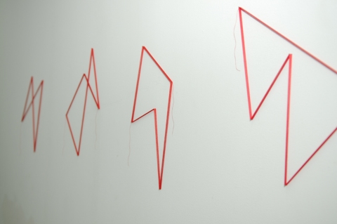 tracings Untitled (5 traces in red) - angled view