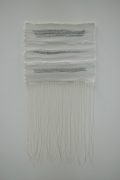 catherine macmahon text(ure)s screen-printed text on pleated cotton, thread
