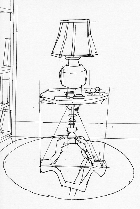 WORKS ON PAPER Table and lamp