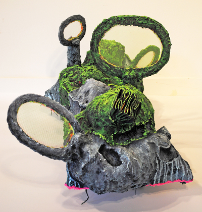 cathy wysocki SUFFER A SEA CHANGE - sculpture wood, plaster, burlap, wire, cardboard, netting, sand, wheels,marble dust, acrylic