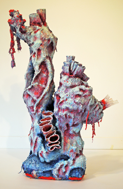 cathy wysocki SUFFER A SEA CHANGE - sculpture concrete, plaster, wire, plastic, cardboard, lint, netting, twine, sand, marble dust, acrylic