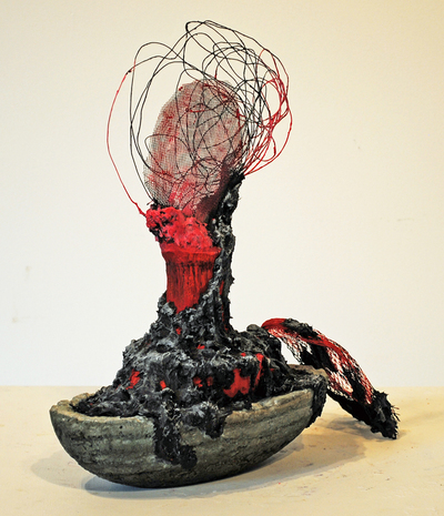 cathy wysocki SUFFER A SEA CHANGE - sculpture concrete, cardboard, lint, plaster, wire, netting, marble dust, acrylic