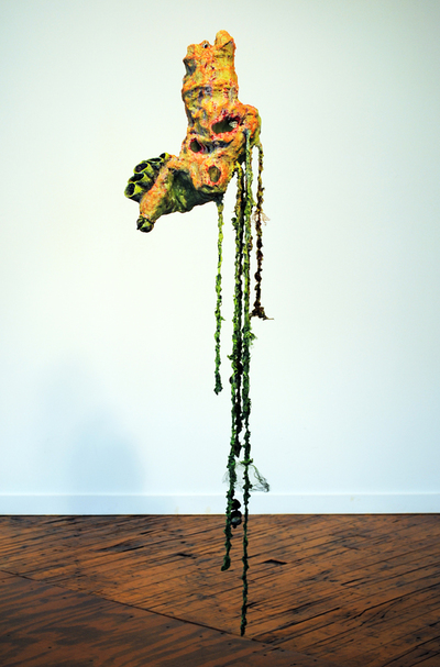 cathy wysocki SUFFER A SEA CHANGE - sculpture plaster, wire, netting,cardboard,paper, twine, lint,nylon, acrylic, mable dust
