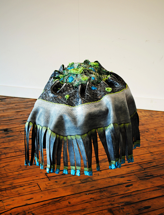 cathy wysocki sculpture plaster,gauze,rubber, wire,lint, hair,twine,cardboard, netting, beads, acrylic, marble dust