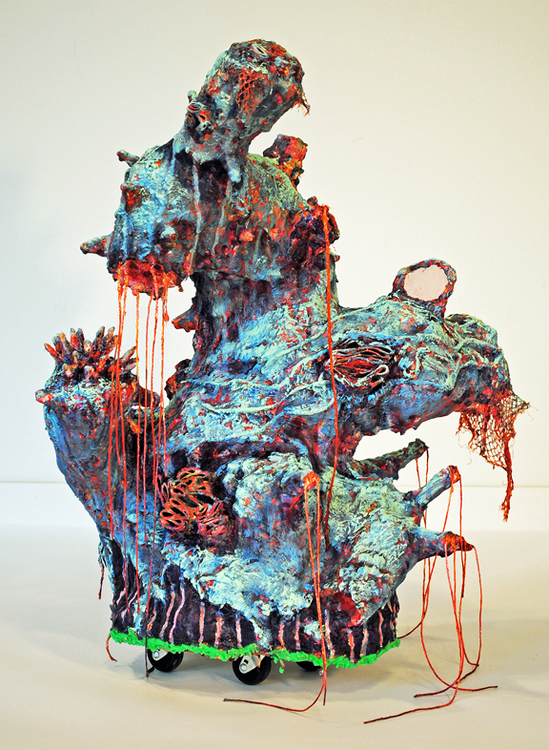cathy wysocki sculpture plaster, burlap, gauze, wire, wood, wheels, netting, cardboard, screen, twine, beads, marble dust, acrylic
