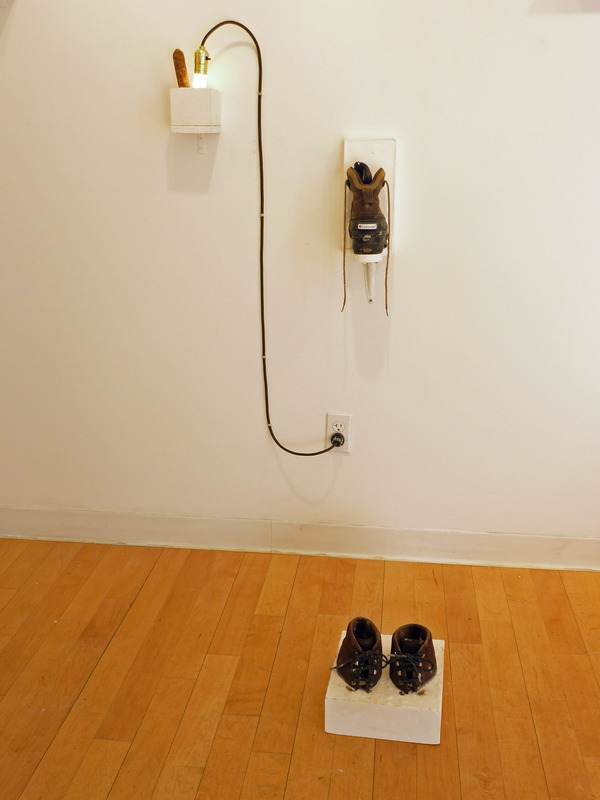 Charles Goss Everything I Don't Know mixed/media w/sausage, lights, plaster, shoes
