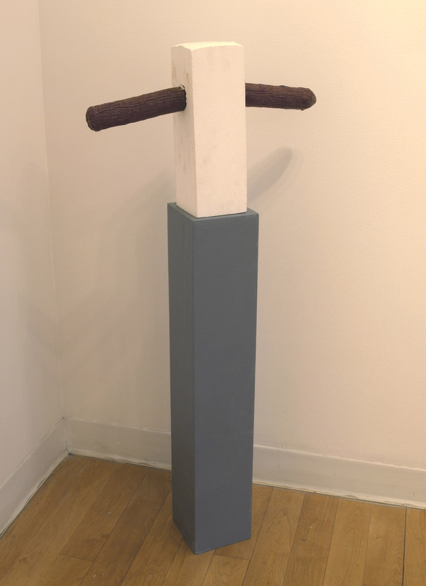 Charles Goss Everything I Don't Know plaster, pedistal, sausage