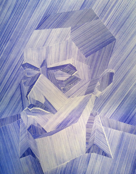 2012-2013: Ballpoint Series Self Portrait