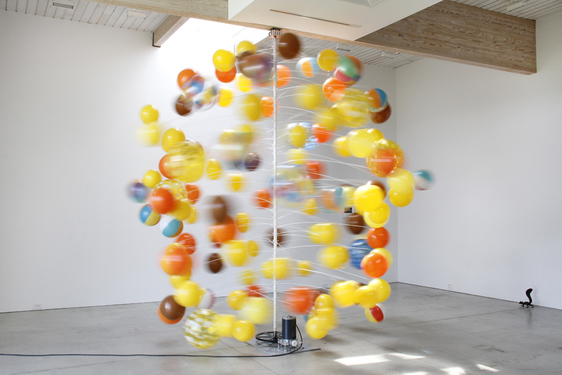 CHARLEY FRIEDMAN OMI INTERNATIONAL ART CENTER beach balls, motor, machined parts, steel rod
