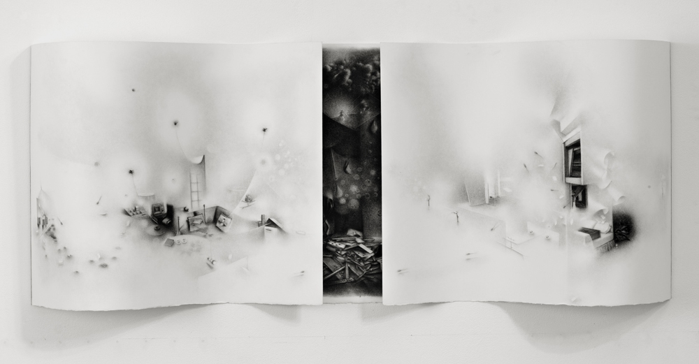 Charlotte Schulz The Uneven Intensities of Duration<br/> 2008-2010 charcoal on paper