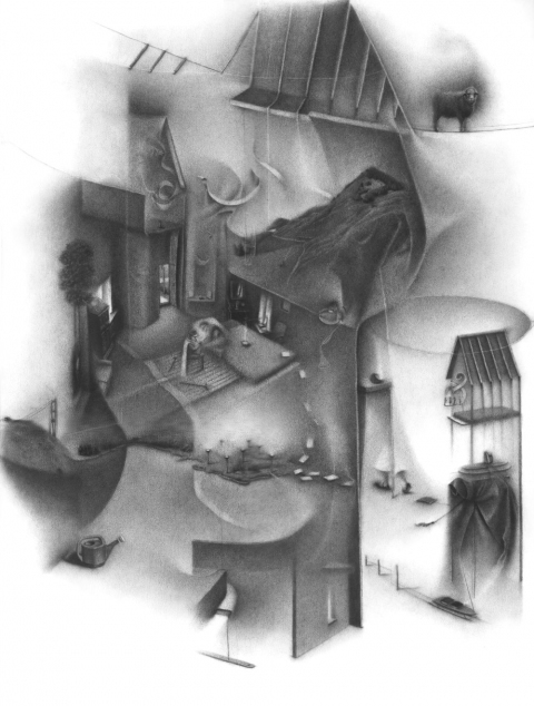 Charlotte Schulz  Inside the Monad<br>2003-2004 charcoal on paper