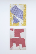 Cheryl Donegan Painting  cotton cloth and digitally printed cloth on MDF