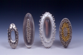 Chris Irick  works from 2006 - 2000 sterling & fine silver, 24k yellow gold, acrylic, stainless steel.