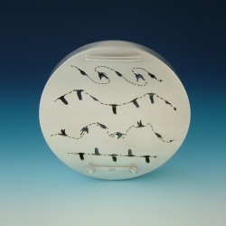Chris Irick  Flight Series sterling silver, finch feathers, stainless steel