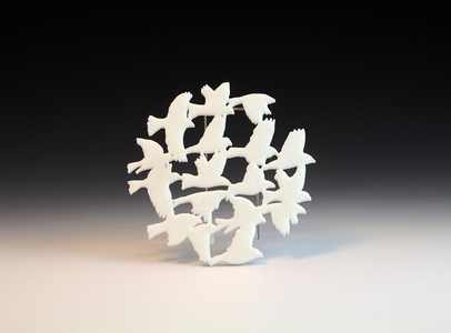 Chris Irick  Flight Series 3d printed nylon (selective laser sintering), stainless steel