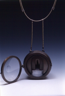 Chris Irick  works from 1994 - 1999 copper, silver, watch crystal, steel