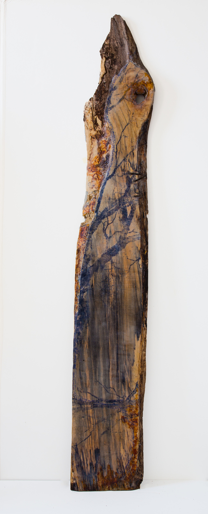 Christine Shannon Aaron Sculptural Work lithographic monoprint, asian paper, encaustic on found wood