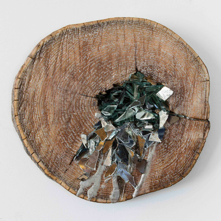 Christine Shannon Aaron Sculptural Work mirror, encaustic on wood