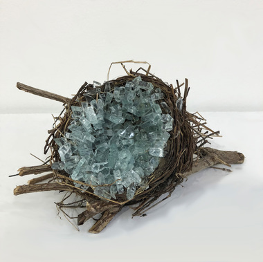 Christine Shannon Aaron Sculpture found nest shattered glass