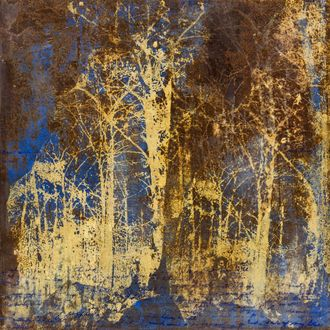 Christine Shannon Aaron Mixed Media lithograph, encaustic on oxidized steel
