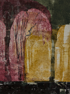 Christine Shannon Aaron Work on Paper lithographic monoprint, Asian paper, chine colle