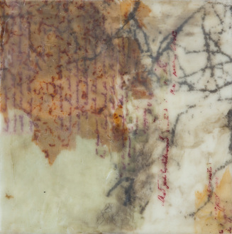 Christine Shannon Aaron Mixed Media Work lithographic monoprint, Asian paper, wax on panel
