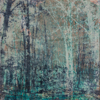Christine Shannon Aaron Mixed Media Work lithographic monoprint, pigmented wax on patinated copper