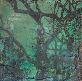 Christine Shannon Aaron Mixed Media lithographic monoprint, encaustic on patinated copper