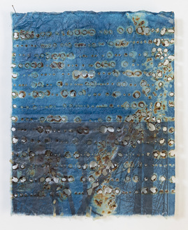 Christine Shannon Aaron Burnt Drawings burnt drawing on hand dyed indigo paper, wax