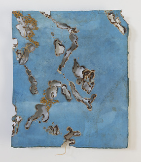 Christine Shannon Aaron Burnt Drawings burnt and stitch drawing on hand dyed indigo paper