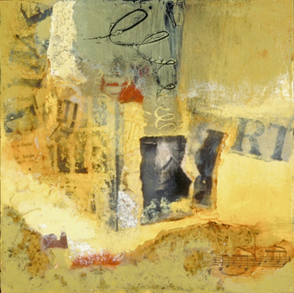 Christine Shannon Aaron Mixed Media Work encaustic, found paper, on panel