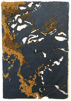Christine Shannon Aaron Burnt Drawings burnt drawing with stitching on hand made abaca paper