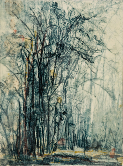 Christine Shannon Aaron Mixed Media Work lithograph, asian paper, encaustic on panel