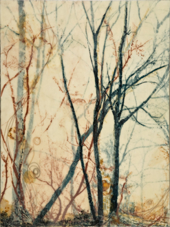 Christine Shannon Aaron Mixed Media Work lithograph, asian paper, encaustic, horsehair on panel