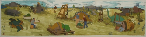 Christopher  Ulivo Prehistoric Park: gouache on paper