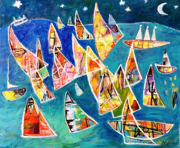 Christy Sverre Sailing  acrylic and collage on canvas