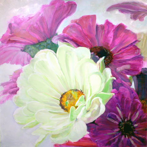 Cynthia K Mullins Big Flower Series  oil on board