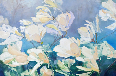 Cynthia K Mullins On the Verge Flower Series oil on board