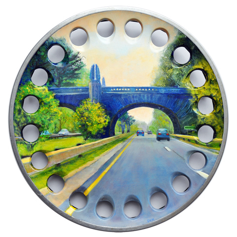 Cynthia K Mullins The Merritt Parkway Series oil on 1989 Saab Stainless Steel Hubcap