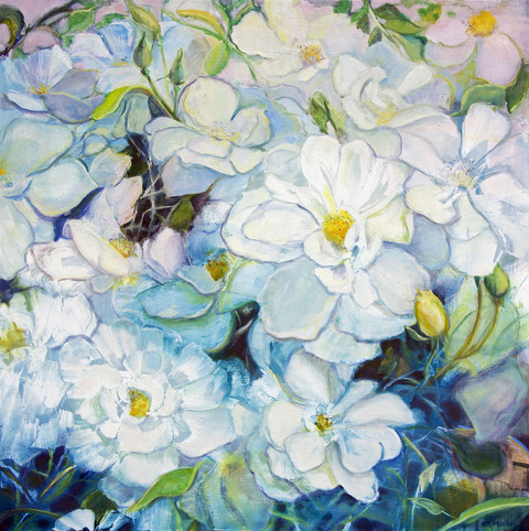 Cynthia K Mullins Contemporary Florals oil on wood board