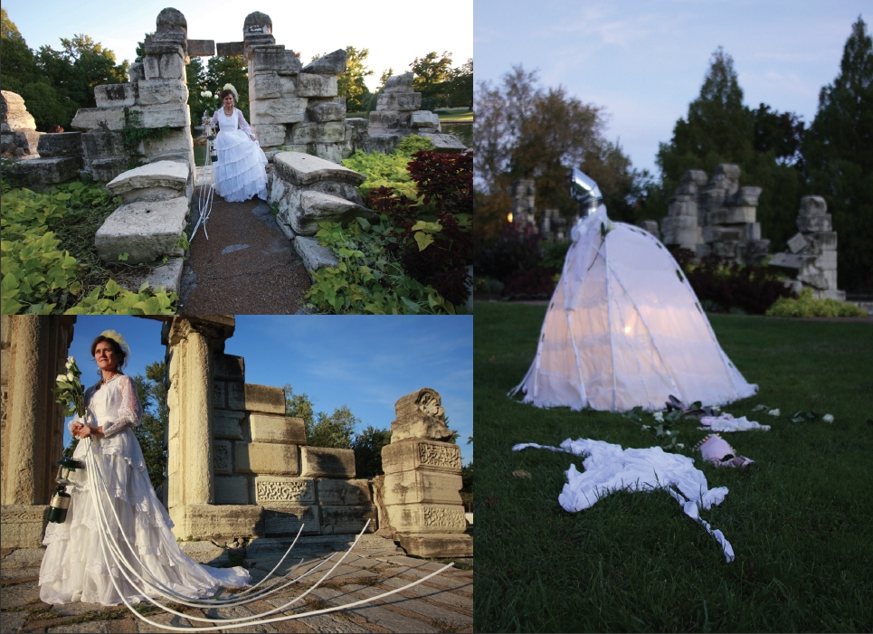 Cindy Tower Happenings/Performed Sculpture Wedding dress and tent stakes