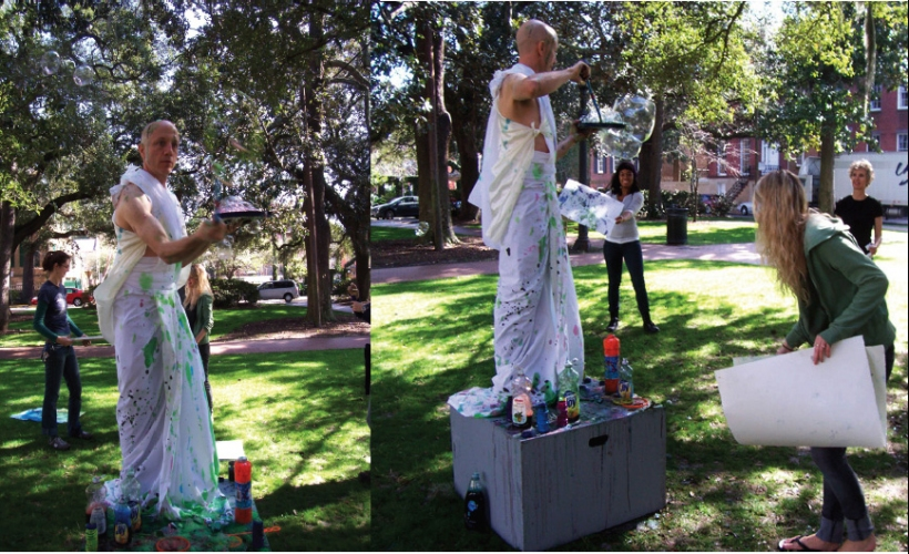 Cindy Tower Viewers as Creators Model blowing colored bubbles, canvases, participants