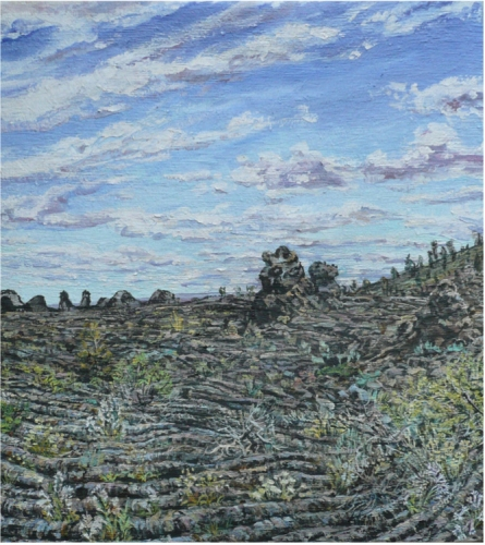 Cindy Tower Landscapes/National Parks oil and asphault on woven cotton
