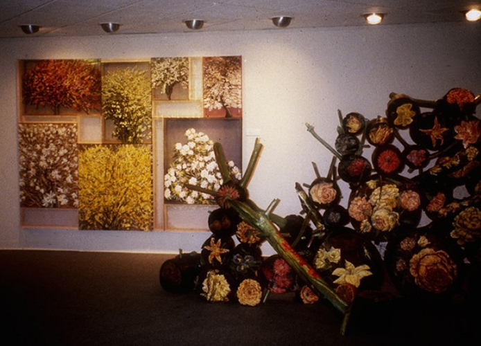 "Cindy Tower Tree Paintings View of ""Tree Garden"" painting, oil on silk and painted wood sculpture"