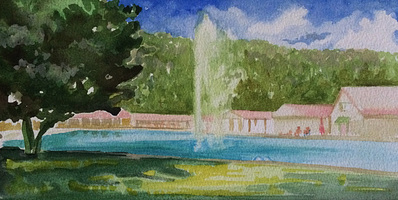 Claire McConaughy Swimming Pool Fountain Watercolors 2014-15 watercolor on paper