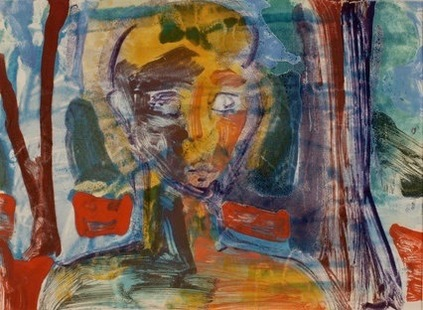 Claire Rosenfeld Prints encaustic monotype with watercolor