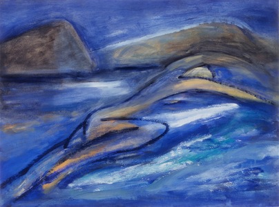 Claire Rosenfeld Ocean and Swimmers Oil on paper