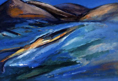Claire Rosenfeld Ocean and Swimmers oil on canvas