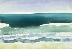 Claire Rosenfeld Ocean and Swimmers watercolor on paper